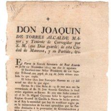 Documentos antiguos: CIRCULAR TENIENTE CORREGIDOR DE MANRESA SOBRE PERSECUCION A CONTRABANDISTAS Y MALECHORES. 1803. Lote 222643142