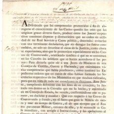 Documentos antiguos: DECRETO REAL SOBRE JURISDICCION SOBRE CAUSAS DE CONTRABANDO Y FRAUDE. 1795. Lote 222643568