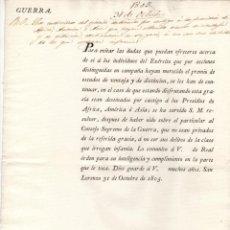 Documentos antiguos: DECRETO GUERRA. MIEMBROS DEL EJERCITO CASTIGADOS A PRESIDIOS CON PREMIOS NO SEAN PRIVADOS DE EL 1805. Lote 222644351