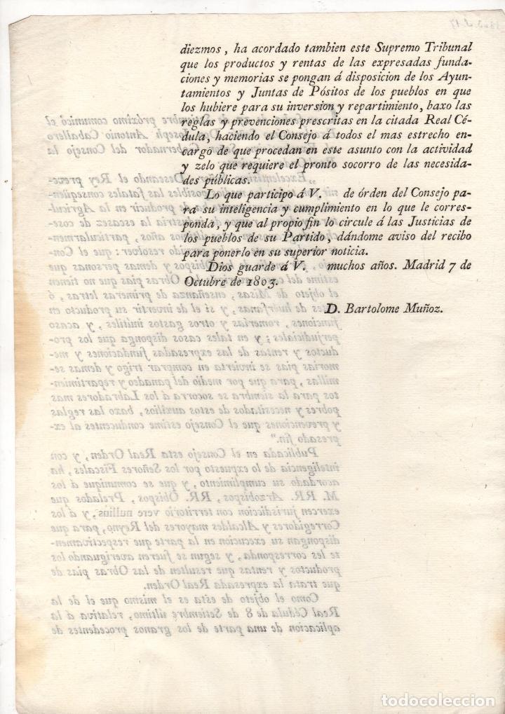 Documentos antiguos: ORDEN REAL SOBRE INVERSION DE PRODUCTOS Y RENTAS DE OBRAS PIAS A COMPRAR TRIGO Y SEMILLAS 1803 - Foto 2 - 222646215