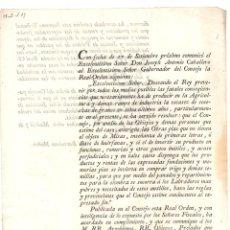 Documentos antiguos: ORDEN REAL SOBRE INVERSION DE PRODUCTOS Y RENTAS DE OBRAS PIAS A COMPRAR TRIGO Y SEMILLAS 1803. Lote 222646215