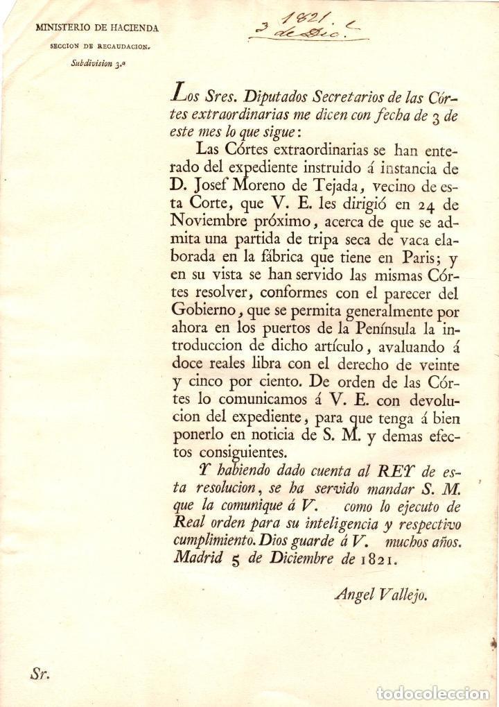 CIRCULAR CONCEDIENDO A VECINO DE LA CORTE LA ADMISION DE UNA TRIPA SECA DE VACA ELABORADA EN PARIS (Coleccionismo - Documentos - Otros documentos)