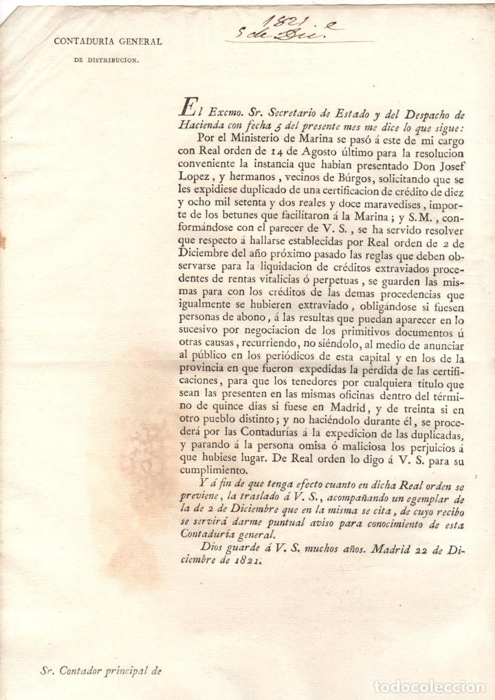 REAL ORDEN SOBRE REGULACION DE CREDITOS. SOLICITUD DE VECINOS DE BURGOS SOBRE CREDITO DE BETUNES (Coleccionismo - Documentos - Otros documentos)