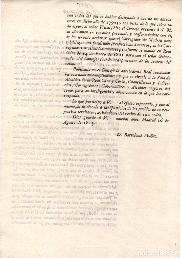 Documentos antiguos: REAL ORDEN SOBRE REGULACION DE TEATROS DEL REINO. 1815 - Foto 2 - 222654780