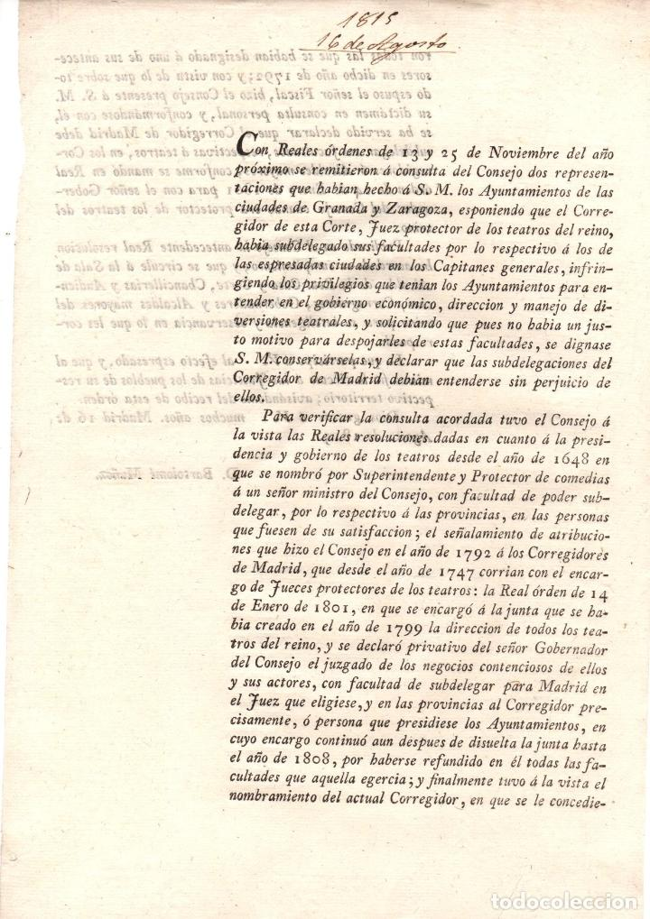 Documentos antiguos: REAL ORDEN SOBRE REGULACION DE TEATROS DEL REINO. 1815 - Foto 1 - 222654780