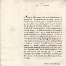Documentos antiguos: ORDEN REAL PARA QUE PUEBLOS Y PARTICULARES PRESTEN ACEMILAS, CARROS AL EJERCITO. 1815. Lote 222655240