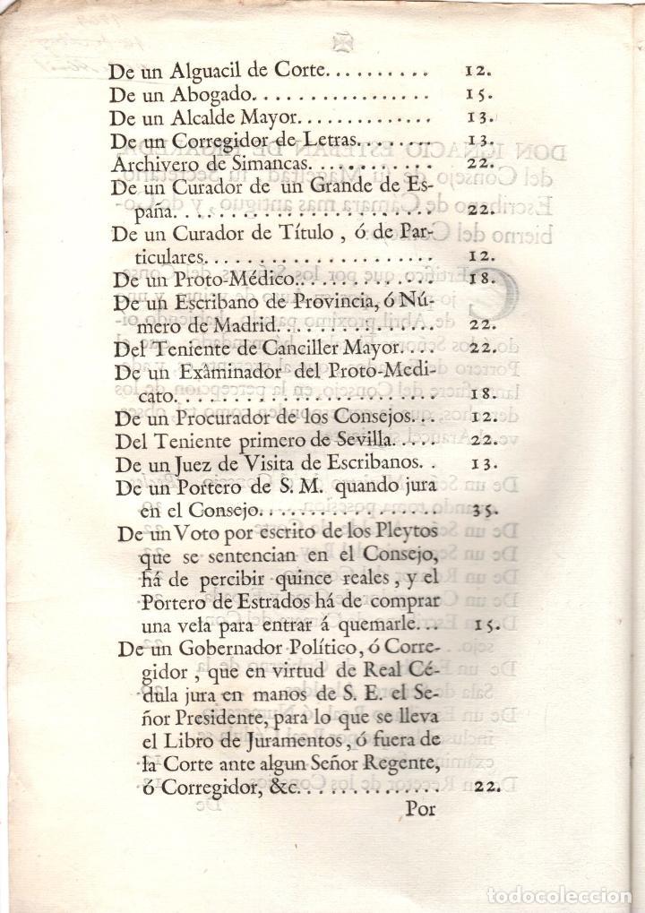 Documentos antiguos: AUTO SOBRE LA OBSERVACION DE ARANCELES DE PORTEROS DE ESTRADOS, UJIERES. 1769 - Foto 2 - 222656125