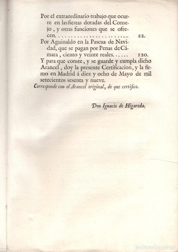 Documentos antiguos: AUTO SOBRE LA OBSERVACION DE ARANCELES DE PORTEROS DE ESTRADOS, UJIERES. 1769 - Foto 3 - 222656125