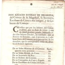 Documentos antiguos: AUTO SOBRE LA OBSERVACION DE ARANCELES DE PORTEROS DE ESTRADOS, UJIERES. 1769. Lote 222656125