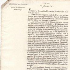 Documentos antiguos: DECRETO FERNANDO VII SOBRE LIQUIDACION DE DEUDA PUBLICA DE PROVINCIAS VASCONGADAS Y NAVARRA. 1821. Lote 222656450