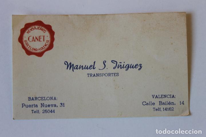 TARJETA MENSAJEROS CANET, MANUEL S. IÑIGUEZ, TRANSPORTE, BARCELONA VALENCIA AÑOS 30 (Coleccionismo - Documentos - Otros documentos)