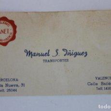 Documentos antiguos: TARJETA MENSAJEROS CANET, MANUEL S. IÑIGUEZ, TRANSPORTE, BARCELONA VALENCIA AÑOS 30. Lote 222659121