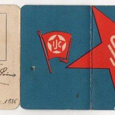 Documenti antichi: CARNET FEDERACION DE JUVENTUDES SOCIALISTAS UNIFICADAS DE ESPAÑA. MADRID. 1936. RARO. Lote 222748440