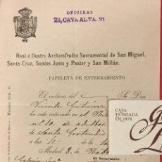 Documentos antiguos: ARCHICOFRADIA DE SAN MIGUEL PAPELETA DE ENTERRAMIENTO MADRID 1905. Lote 222813656