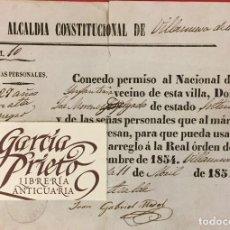 Documentos antiguos: ALCALDIA CONSTITUCIONAL VILLANUEVA DE LAS CRUCES HUELVA, LICENCIA DE ARMAS A INFANTERIA 1854. Lote 222819537