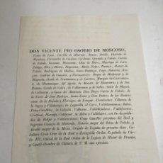 Documentos antigos: DOCUMENTO. DON VICENTE PIO OSORIO DE MOSCOSO. HACIENDA S. XIX. Lote 223239018