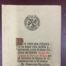 Documents Anciens: CARTA INEDITA Y AUTOGRAFA DEL BEATO VALENTIN DE BERRIO-OCHOA (1858) - DIPTICO -. Lote 224110326