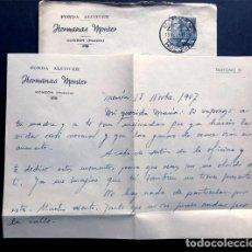 Documentos antigos: MONZÓN AÑO 1947 / FONDA ALCOVER / HERMANAS MONTER / SOBRE Y CARTA MEMBRETE / HUESCA. Lote 224217096