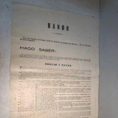 Documentos antiguos: REPUBLICA,CARTEL BANDO MILITAR GENERAL JOSE SANCHEZ DE OCAÑA JEFE DE LA 4ª DIVISION. 20-JUNIO-1935. Lote 224845168