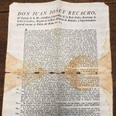 Documentos antigos: BANDO REGENTE REAL AUDIENCIA DE ASTURIAS Y SUPERINTENDENTE DE POLICIA DEL REINO. 1825. Lote 225500046