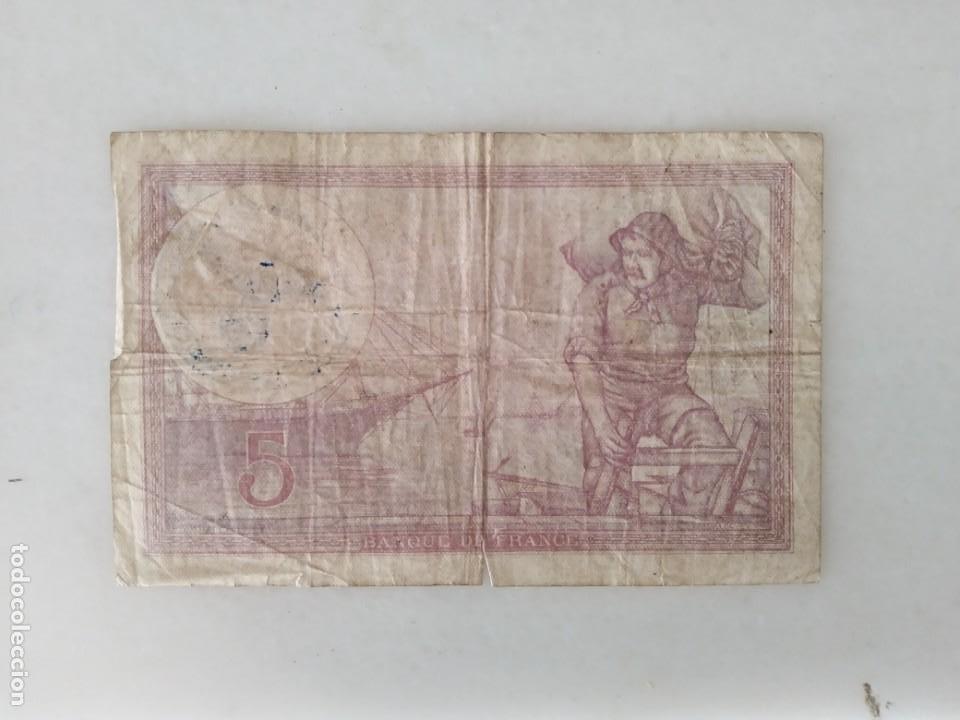 Documentos antiguos: BONITOS BILLETE CINCO FRANCOS RESELLO SEGUNDA GUERRA MUNDIAL RESELLO NAZI. - Foto 2 - 225513120