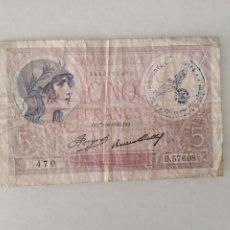 Documentos antiguos: BONITOS BILLETE CINCO FRANCOS RESELLO SEGUNDA GUERRA MUNDIAL RESELLO NAZI.. Lote 225513325