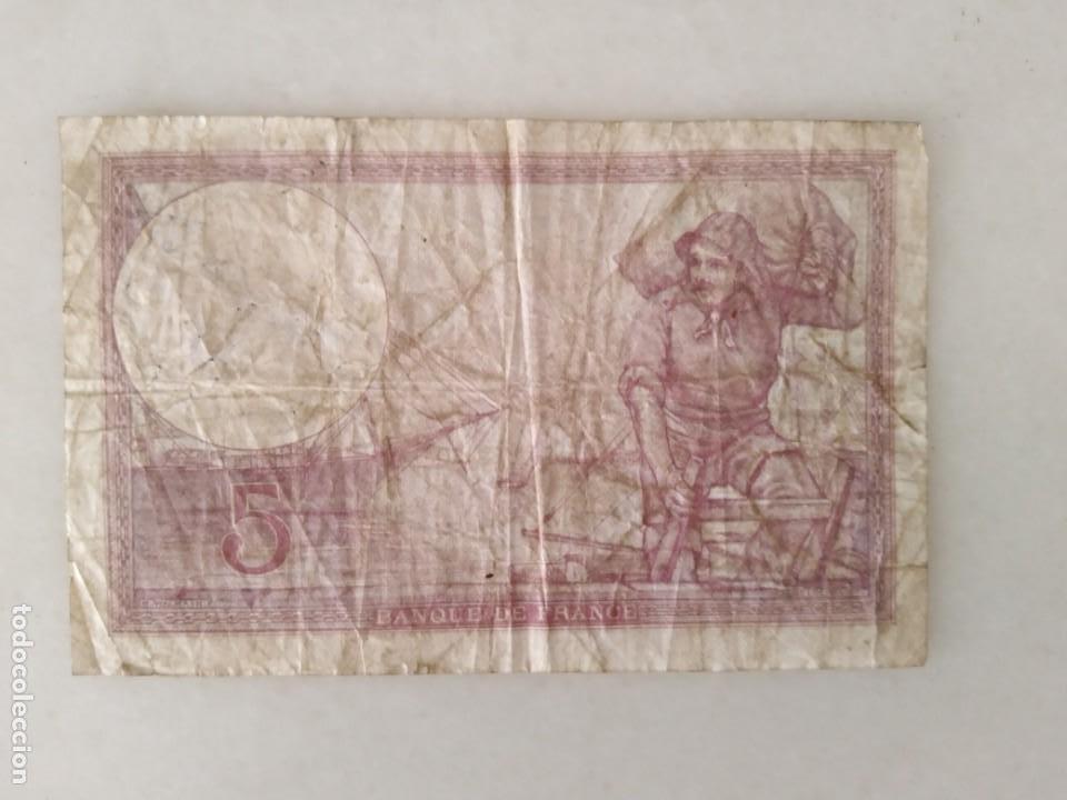 Documentos antiguos: BONITOS BILLETE CINCO FRANCOS RESELLO SEGUNDA GUERRA MUNDIAL RESELLO NAZI. - Foto 2 - 225513325