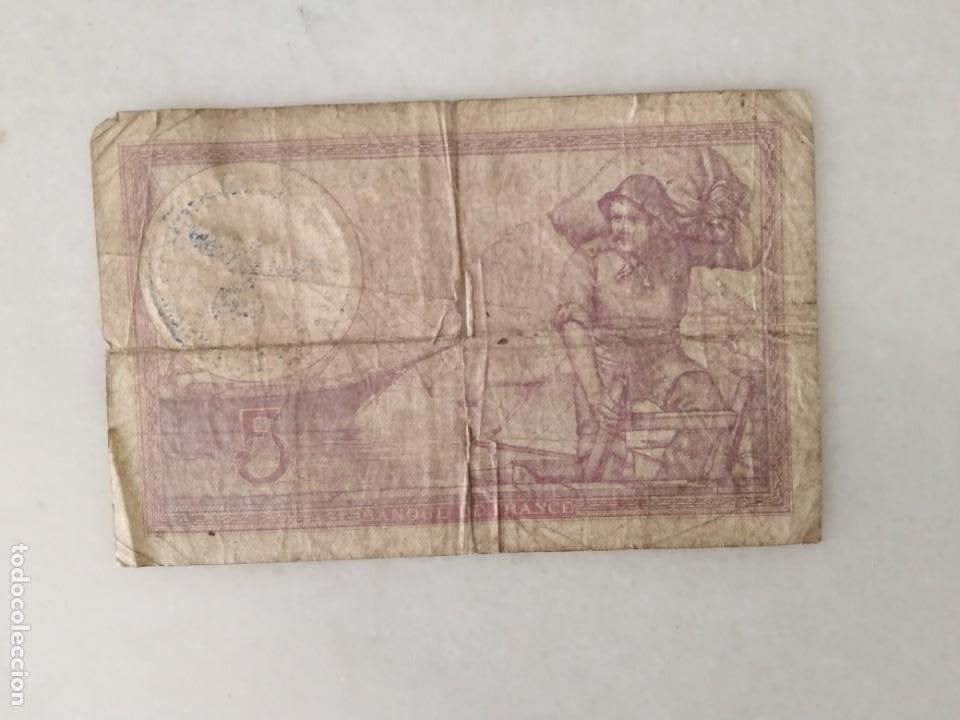 Documentos antiguos: BONITOS BILLETE CINCO FRANCOS RESELLO SEGUNDA GUERRA MUNDIAL RESELLO NAZI. - Foto 2 - 225513600