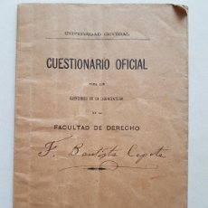 Documentos antiguos: UNIVERSIDAD CENTRAL MADRID CUESTIONARIO FACULTAD DERECHO 1910. Lote 226658845