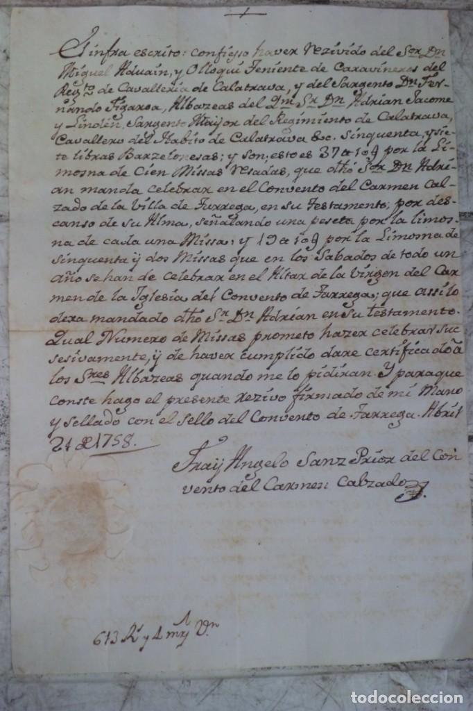 CARTA DE PAGO POR 57 LIBRAS BARCELONESAS, LERIDA PAGO AL CONVENTO DEL CARMEN 1.758,TARREGA (Coleccionismo - Documentos - Otros documentos)