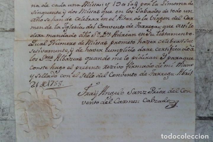 Documentos antiguos: CARTA DE PAGO POR 57 LIBRAS BARCELONESAS, LERIDA PAGO AL CONVENTO DEL CARMEN 1.758,TARREGA - Foto 4 - 226659615