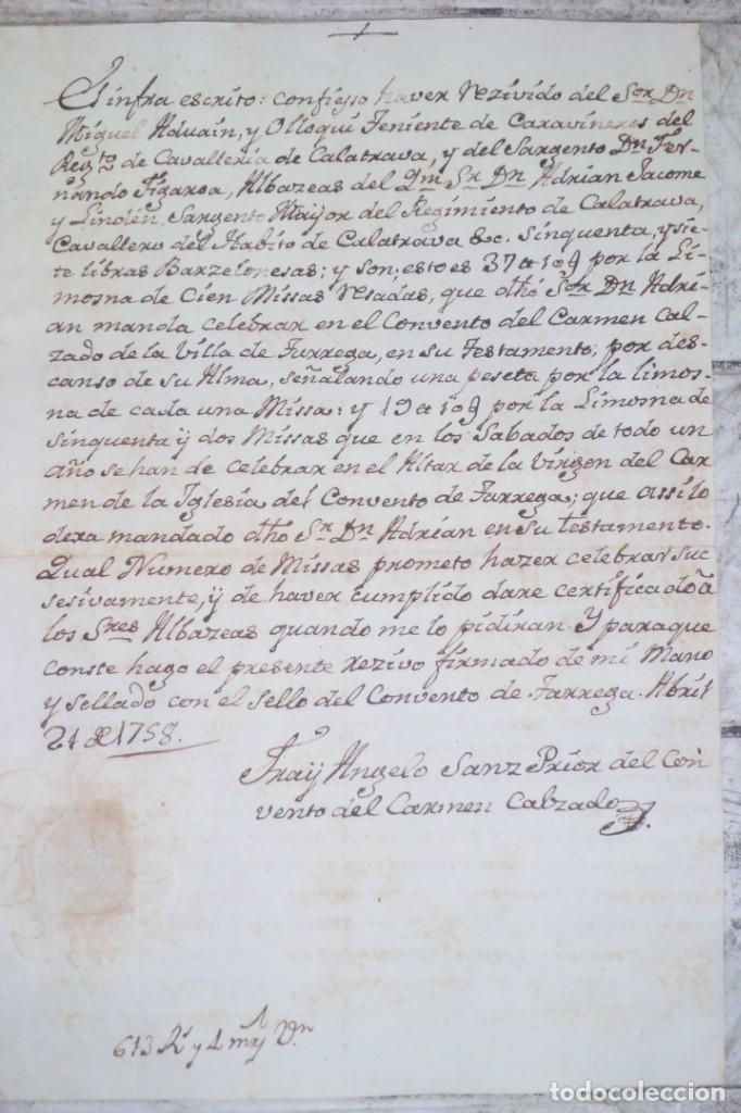 Documentos antiguos: CARTA DE PAGO POR 57 LIBRAS BARCELONESAS, LERIDA PAGO AL CONVENTO DEL CARMEN 1.758,TARREGA - Foto 5 - 226659615