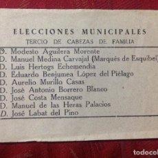 Documentos antiguos: ELECCIONES MUNICIPALES. TERCIO DE CABEZAS DE FAMILIA ( MARQUÉS DE ESQUIVEL ). Lote 227093905