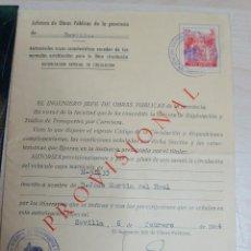 Documentos antiguos: JEFATURA DE OBRAS PUBLICAS, AUTORIZACION ESPECIALD E CIRCULACION AÑO 1964. Lote 227604155