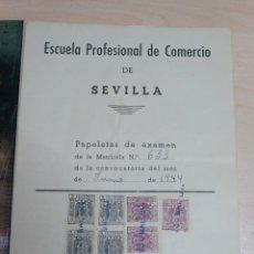 Documentos antiguos: ESCUELA PROFESIONAL DE COMERCIO DE SEVILLA PAPELETAS DE EXAMENES AÑO 1944. Lote 227607037