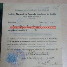 Documentos antiguos: REPÚBLICA ESPAÑOLA INSTITUTO NACIONAL DE SEGUNDA ENSEÑANZA DE SEVILLA CURSO 1933-34. Lote 227608335
