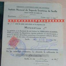 Documentos antiguos: REPÚBLICA ESPAÑOLA INSTITUTO NACIONAL DE SEGUNDA ENSEÑANZA DE SEVILLA CURSO 1934-35. Lote 227608865