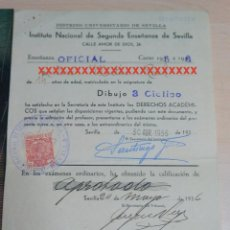 Documentos antiguos: REPUBLICA ESPAÑOLA INSTITUTO NACIONAL DE SEGUNDA ENSEÑANZA DE SEVILLA CURSO 1935-36. Lote 227609865