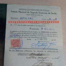 Documentos antiguos: REPUBLICA ESPAÑOLA INSTITUTO NACIONAL DE SEGUNDA ENSEÑANZA DE SEVILLA CURSO 1935-36. Lote 227610040