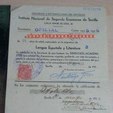 Documentos antiguos: REPUBLICA ESPAÑOLA INSTITUTO NACIONAL DE SEGUNDA ENSEÑANZA DE SEVILLA CURSO 1935-36. Lote 227620130