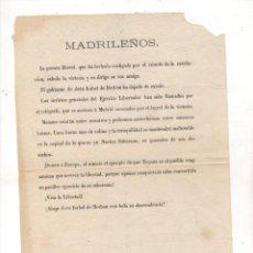 Documentos antigos: BANDO CARLISMO DIRIGIDO A MADRILEÑOS EN CONTRA DE ISABEL DE BORBON Y DESCENDENCIA. C. 1874. Lote 227998225