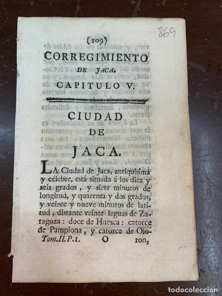 DESCRIPCIÓN DE LA VILLA DE JACA DEL AÑO 1779. IMPRESO ORIGINAL. (Coleccionismo - Documentos - Otros documentos)