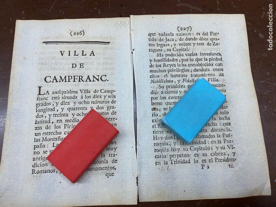 DESCRIPCIÓN DE LA VILLA DE CANFRANC DEL AÑO 1779. IMPRESO ORIGINAL. (Coleccionismo - Documentos - Otros documentos)