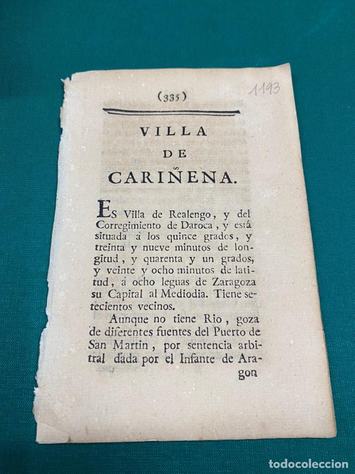 DESCRIPCIÓN DE LA VILLA DE CARIÑENA, DEL AÑO 1779. IMPRESO ORIGINAL. (Coleccionismo - Documentos - Otros documentos)
