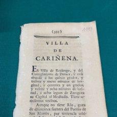 Documentos antiguos: DESCRIPCIÓN DE LA VILLA DE CARIÑENA, DEL AÑO 1779. IMPRESO ORIGINAL.. Lote 228164055