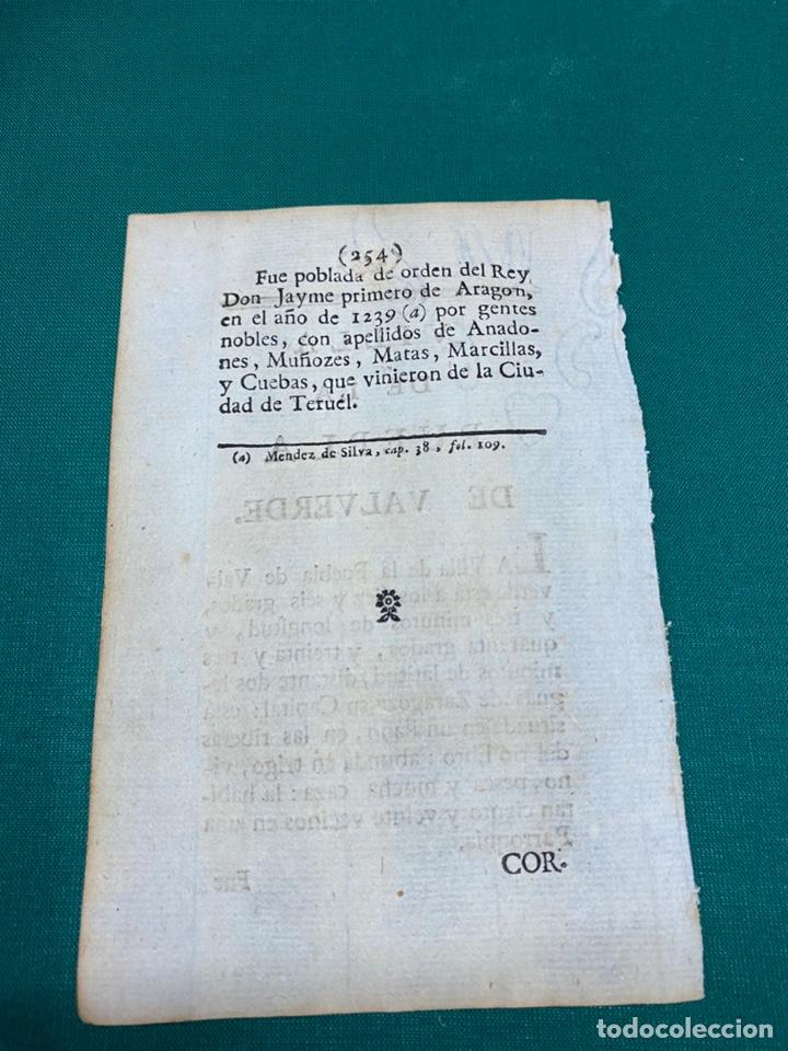 Documentos antiguos: DESCRIPCIÓN DE LA VILLA DE LA PUEBLA DE VALVERDE, DEL AÑO 1779. IMPRESO ORIGINAL. - Foto 2 - 228166960