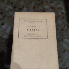 Documents Anciens: LIBRETA DEL CAMARERO 2° (COMPAÑÍA TRASMEDITERRÁNEA). Lote 228199400