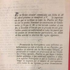Documentos antiguos: CARLOS IV. POR LA ORDEN CIRCULAR, QUE LOS CEMENTERIOS SE CONSTRUYAN FUERA DE PUEBLOS Y CIUDADES 1804. Lote 228259045