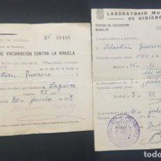 Documentos antiguos: MADRID 1939. SERVICIO DE VACUNACION CONTRA LA VIRUELA Y ANTITIFICA PARATIFICA (TIFOIDEA). Lote 229863475