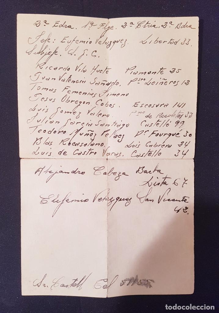 LISTA MANUSCRITA ELEMENTOS ESCUADRA (FALANGE,CENTURIA;BANDERA) BLAS ROCASOLANO GUERRA CIVIL (Coleccionismo - Documentos - Otros documentos)